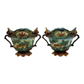 19th Century French Barbotine Cachepots - A Pair