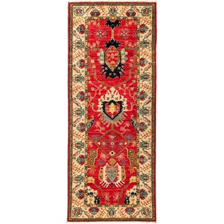 "Eclectic Hand Knotted Runner Rug - 3' 2"" X 7' 10"""