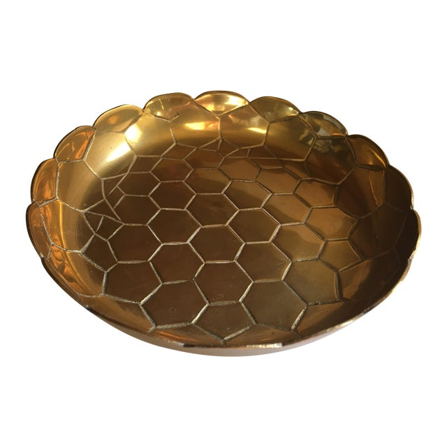 Vintage Brass Octagon Pattern Bowl - Image 1 of 6