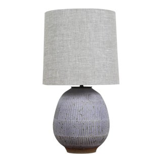 Hand-Carved Lavender Stoneware Lamp by Mt. Washington Pottery