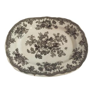 Antique Ironstone Brown & White Platter