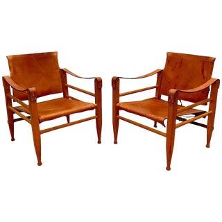 Danish Modern Wood & Leather Safari Chairs - A Pair