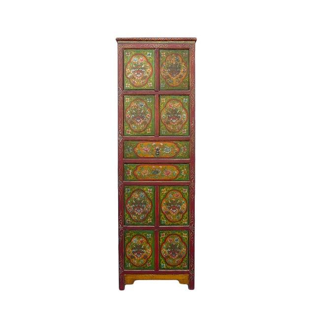 Chinese Tibetan Green Red Dragon Slim Cabinet - Image 1 of 6