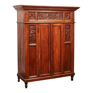 Rare 20th Century Indonesian Carved Teak Cabinet