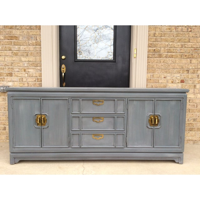 Vintage Thomasville Grey Distressed Asian Credenza - Image 7 of 8