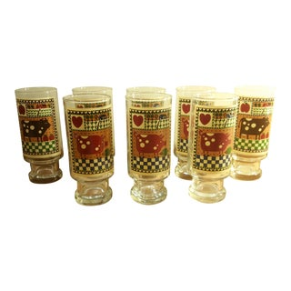 1981 Anchor Hocking Rodger Johnson Footed Drinking Glasses - Set of 8