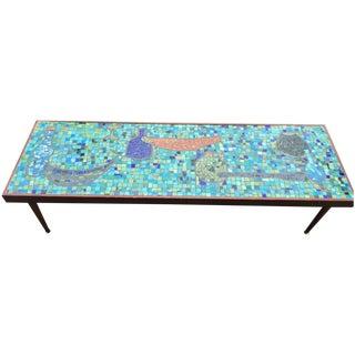 Mid Century Bohemian Tile Art Mosaic Coffee Table