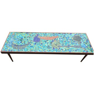 Mid Century Bohemian Tile Art Mosaic Coffee Table