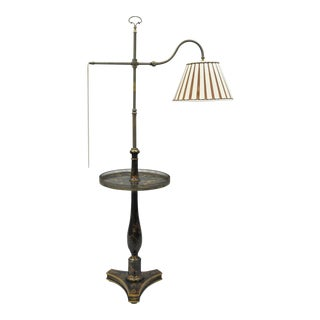 Adjustable Asian Chinoiserie Black Paint Decorated Floor Reading Table Lamp