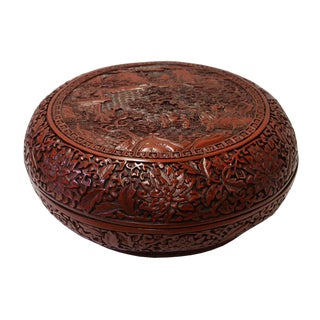 Chinese Red Resin Round Scenery Carving Accent Box