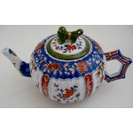 Image of Vintage Chinese Blue & Red Porcelain Teapot