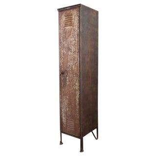 Vintage Industrial Factory Metal Locker, Old Steel Storage Locker, Brass Plate