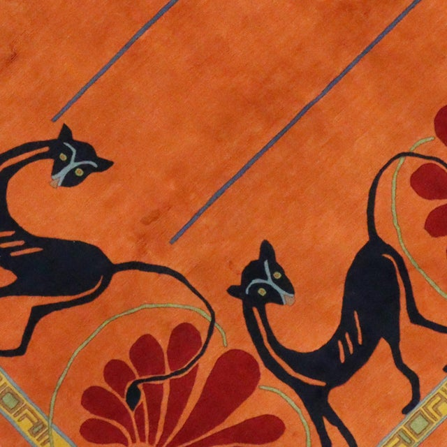Vintage Tibetan Orange with Black Cats Rug - 8′3″ × 10′2″ - Image 4 of 7