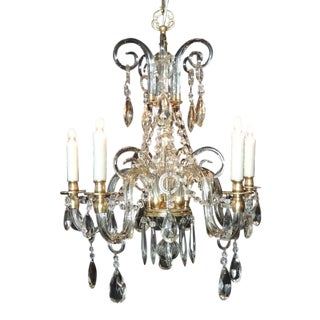 Early 20th C French Baccarat-Quality Crystal and Bronze Doré Chandelier