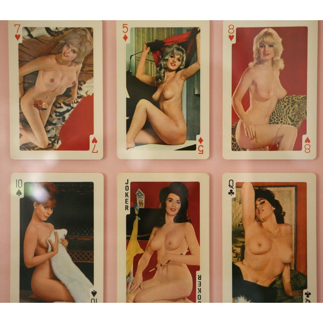 Image of Framed Vintage 60s/70s Era Pin Up Playing Cards