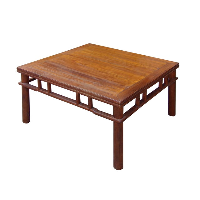 Chinese Ming Style Round Legs Square Coffee Table