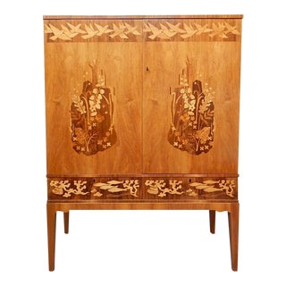 Swedish Inlaid Storage Cabinet by Reiners Möbler with Flora and Fauna Motifs, Circa 1950
