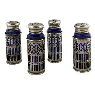 Sterling & Cobalt S & P Shakers - Set of 4