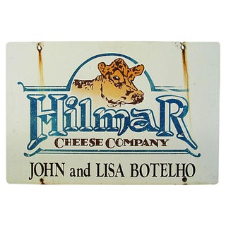 Large Vintage Double-Sided Jersey Cow Hilmar Dairy & Cheese Farm Sign