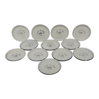 French Enameled Coasters - Set of 12