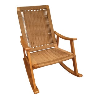 Hans Wagner Style Rope Rocking Chair