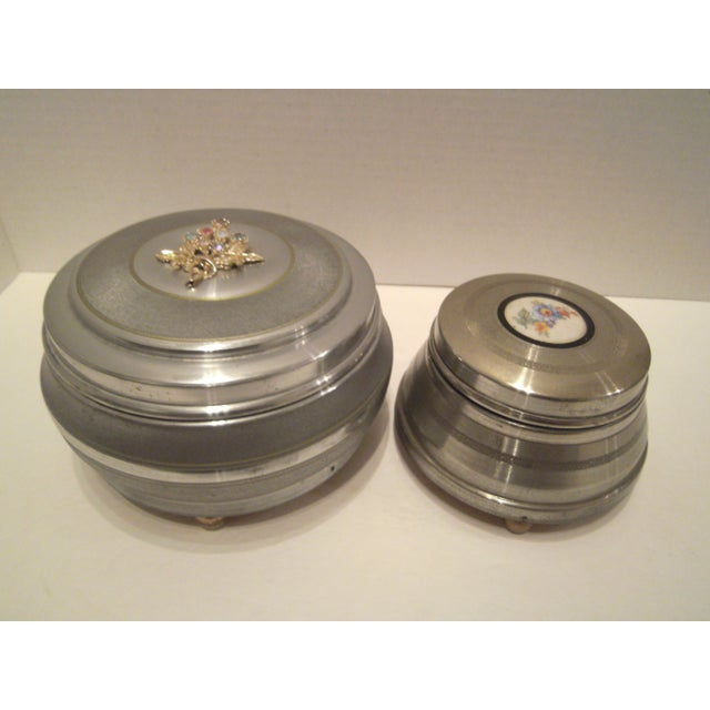 1940's Aluminum Musical Powder Boxes - Image 2 of 8