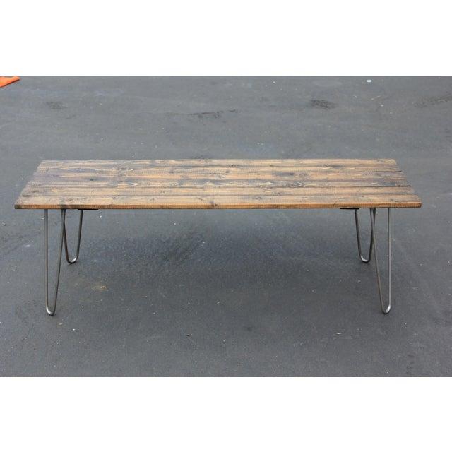 Reclaimed Wood Mid Century Coffee Table: Mid-Century Reclaimed Wood & Hairpin Legs Coffee Table
