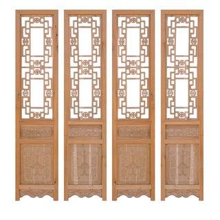 Chinese Dragon Pattern Wood Panels - Set of 4