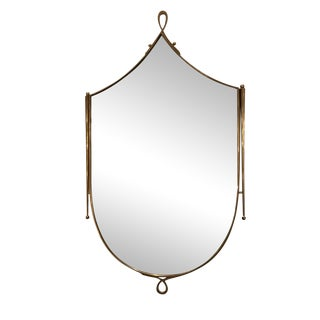 Shield Shaped Mid-Century Wall Mirror in the style of Rene Prou