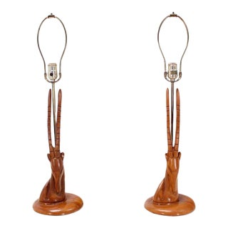 Pair of Sculptural Carved Wood Gazelle Motive Walnut Table Lamps