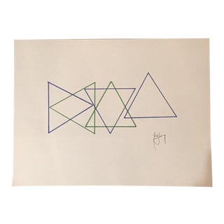Original Geometric Ink Drawing by Tony Curry