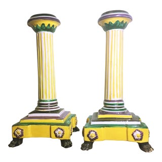 Colorful Italian Majolica Candlesticks - A Pair