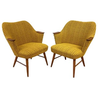 Danish Modern Upholstered Teak Armchairs - A Pair