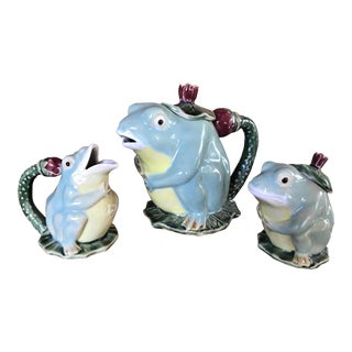 Vintage Majolica Frog Tea Service - Set of 3 (5 Pcs)
