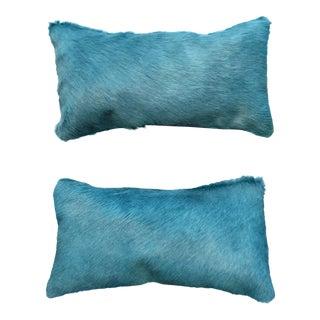 Blue Cowhide Pillows - A Pair