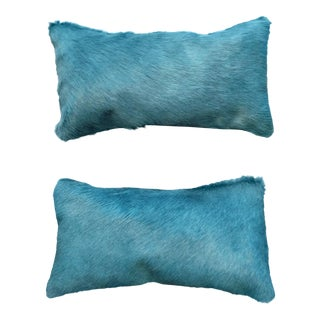 Blue Cowhide Pillows - A Pair