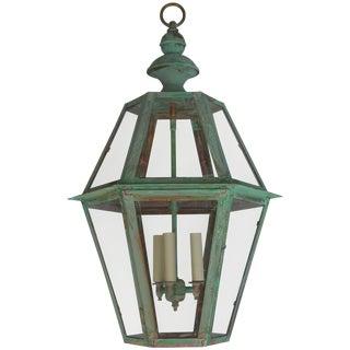 Hexagon Shabby Chic Hanging Copper Lantern