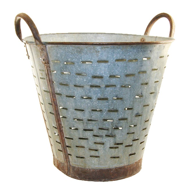 Vintage Olive/Harvest Bucket - Image 1 of 2