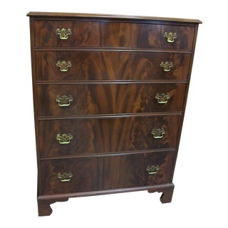 Johnson Furniture Co. Crotch Mahogany Highboy Dresser