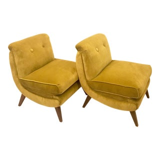 Mid-Century Green Velvet Lounge Chairs - a Pair