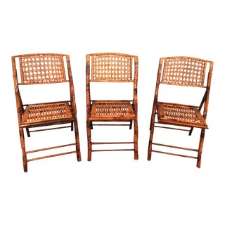 Vintage Tortoise Bamboo Folding Chairs - Set of 3