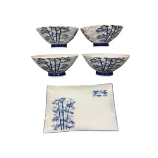 Blue & White Bamboo Motif Bowl & Dish - Set of 5