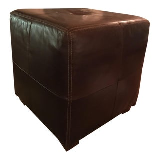 Brown Stitched Leather Ottoman/Footstool
