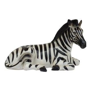 Mid-Century Porcelain Zebra in Repose