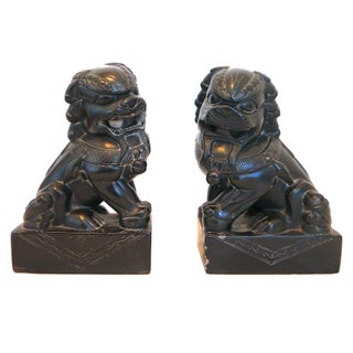 Onyx Carved Foo Dogs - A Pair
