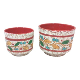 Italian Incised Red Multi-Color Terracotta Planters-A Pair