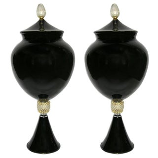 1980 Italian Pair of Tall Black and Gold Glass Vases / Urns Attributed to Venini