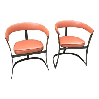 Grapefruit Pink Chairs - A Pair