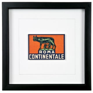 Framed Roma Continentale Hotel Luggage Label