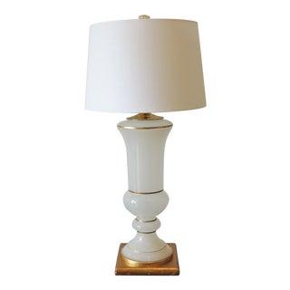 White & Gold Leaf Regency Glass Table Lamp